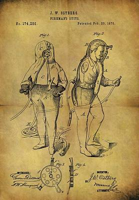 Drawing - 1876 Fireman's Suit by Dan Sproul