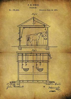 Animals Drawings - 1876 Horse Stable Patent by Dan Sproul