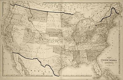 1876 Digital Art - 1876 Map Of The United States Sepia by Toby McGuire