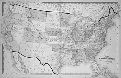 1876 Digital Art - 1876 Map Of The United States by Toby McGuire