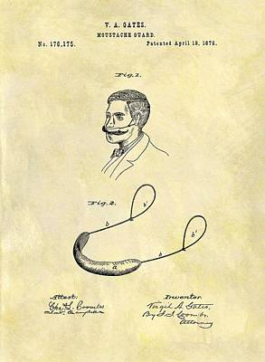 1876 Mustache Guard Patent Print by Dan Sproul