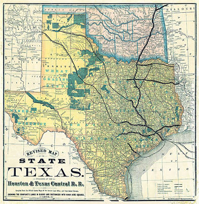 1876 Texas Railroad Map Art Print