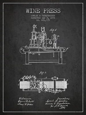 1876 Wine Press Patent - Charcoal Art Print by Aged Pixel
