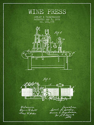 1876 Wine Press Patent - Green Art Print by Aged Pixel