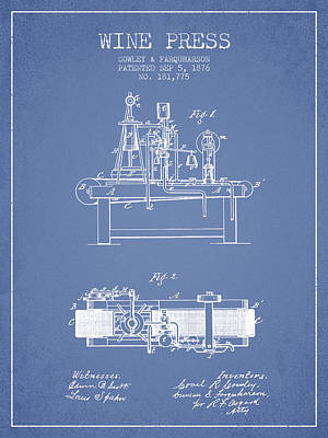 Sparkling Wines Digital Art - 1876 Wine Press Patent - Light Blue by Aged Pixel