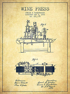 Sparkling Wines Digital Art - 1876 Wine Press Patent - Vintage by Aged Pixel