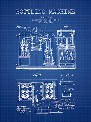 Beer Royalty-Free and Rights-Managed Images - 1877 Bottling Machine patent - Blueprint by Aged Pixel