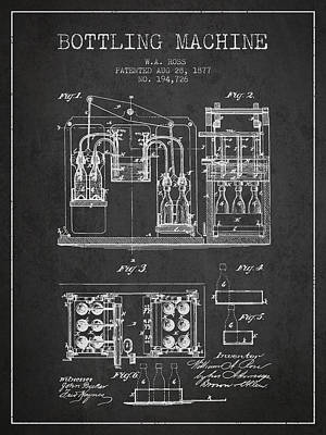 Beer Royalty-Free and Rights-Managed Images - 1877 Bottling Machine patent - Charcoal by Aged Pixel