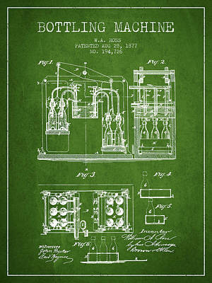 Beer Royalty-Free and Rights-Managed Images - 1877 Bottling Machine patent - Green by Aged Pixel