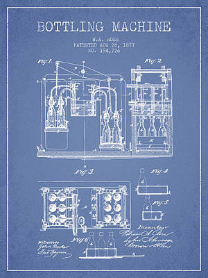 Beer Royalty-Free and Rights-Managed Images - 1877 Bottling Machine patent - Light Blue by Aged Pixel