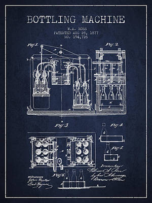 Beer Royalty-Free and Rights-Managed Images - 1877 Bottling Machine patent - Navy Blue by Aged Pixel