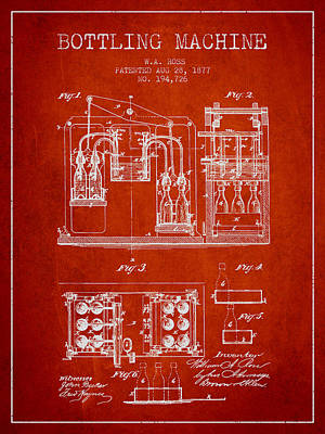 Beer Royalty-Free and Rights-Managed Images - 1877 Bottling Machine patent - Red by Aged Pixel