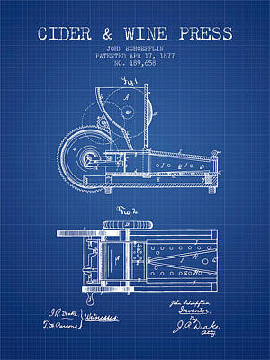 1877 Cider And Wine Press Patent - Blueprint Art Print by Aged Pixel
