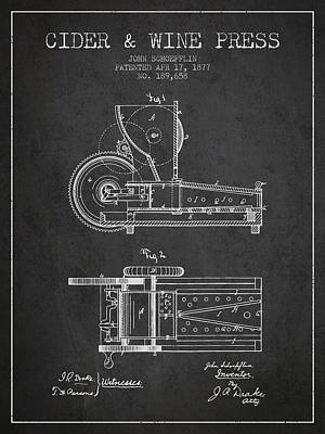 1877 Cider And Wine Press Patent - Charcoal Art Print by Aged Pixel