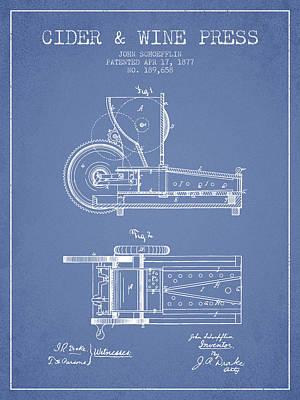 Red Wine Drawing - 1877 Cider And Wine Press Patent - Light Blue by Aged Pixel