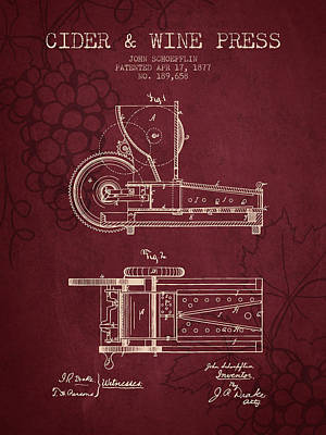 1877 Cider And Wine Press Patent - Red Wine Art Print by Aged Pixel