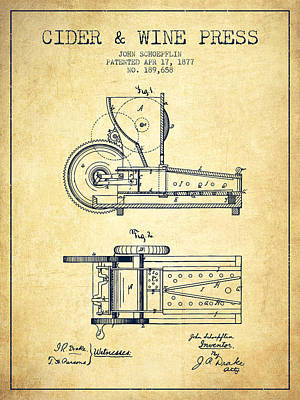 Red Wine Drawing - 1877 Cider And Wine Press Patent - Vintage by Aged Pixel