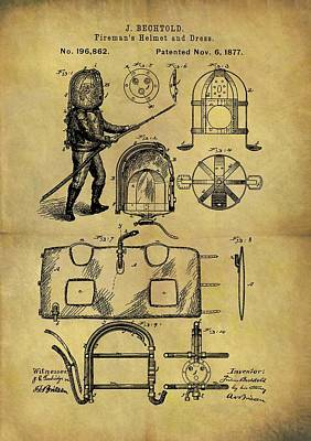 Drawing - 1877 Fireman's Suit Patent by Dan Sproul