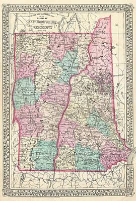 Maps Photograph - 1877 Mitchell Map Of Vermont And New Hampshire  by Paul Fearn