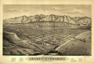 Canyons Drawing - 1877 Santa Barbara California Map by Dan Sproul