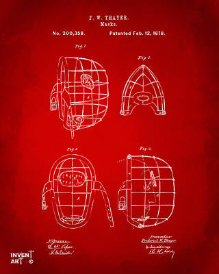 Sports Digital Art - 1878 Baseball Catchers Mask Patent - Red by Nikki Marie Smith