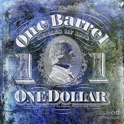1878 Photograph - 1878 Beer Barrel Tax Stamp Blue by Jon Neidert