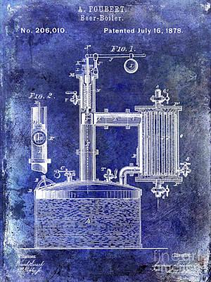 Americana Micro Art Photograph - 1878 Beer Boiler Patent Blue by Jon Neidert