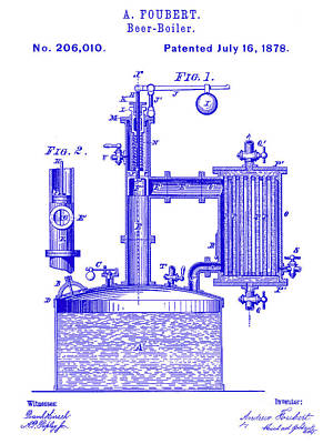 Stein Photograph - 1878 Beer Boiler Patent Blueprint by Jon Neidert