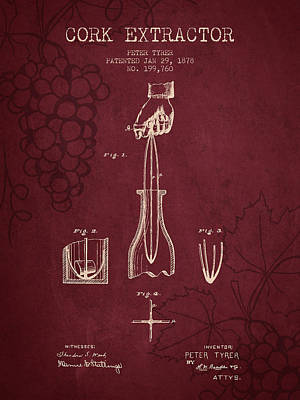 1878 Cork Extractor Patent - Red Wine Art Print by Aged Pixel