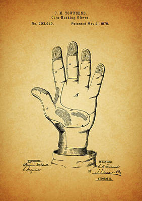 Slaves Mixed Media - 1878 Corn Husking Glove Patent by Dan Sproul