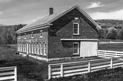 Photograph - 1878 New England Brick Barn  -  1878bricknewengbarnblkwhi184575 by Frank J Benz