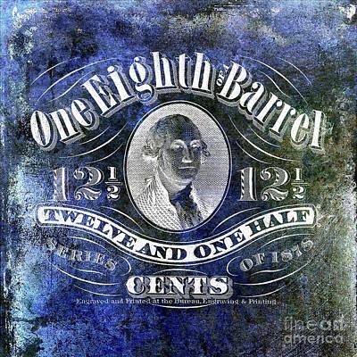 1878 Photograph - 1878 One Eighth Beer Barrel Tax Stamp Blue by Jon Neidert