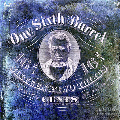 1878 Photograph - 1878 One Sixth Beer Barrel Tax Stamp Blue by Jon Neidert