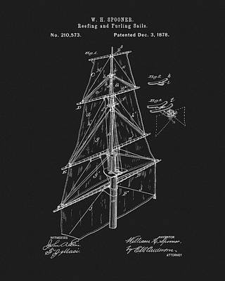 Drawing - 1878 Sail Patent by Dan Sproul