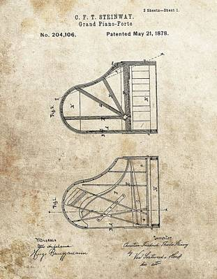 Classical Mixed Media - 1878 Steinway Grand Piano Patent by Dan Sproul