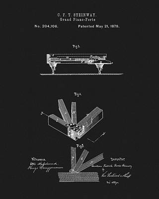 Drawing - 1878 Steinway Piano Patent by Dan Sproul