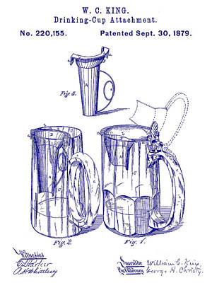 1879 Beer Mug Patent Blueprint Art Print