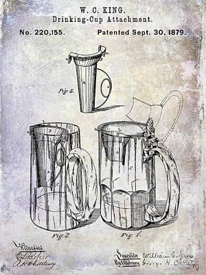 Americana Micro Art Photograph - 1879 Beer Mug Patent by Jon Neidert