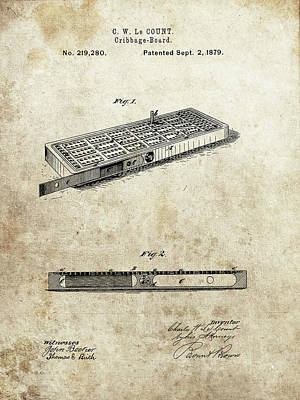 Drawing - 1879 Cribbage Board Patent by Dan Sproul