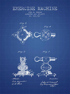 Weightlifting Wall Art - Digital Art - 1879 Exercise Machine Patent Spbb08_bp by Aged Pixel