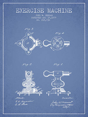 Weightlifting Wall Art - Digital Art - 1879 Exercise Machine Patent Spbb08_lb by Aged Pixel