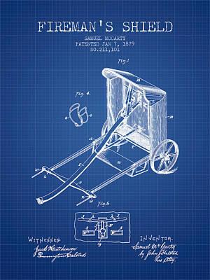 Shield Digital Art - 1879 Firemans Shield Patent - Blueprint by Aged Pixel