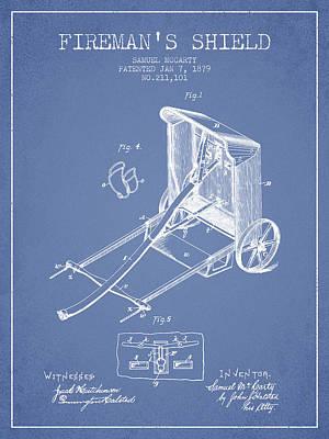 Shield Digital Art - 1879 Firemans Shield Patent - Light Blue by Aged Pixel