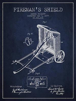 Shield Digital Art - 1879 Firemans Shield Patent - Navy Blue by Aged Pixel