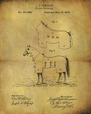 Harness Drawing - 1879 Horse Coat Patent by Dan Sproul