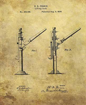 Antique Automobiles Mixed Media - 1879 Lifting Jack Patent by Dan Sproul