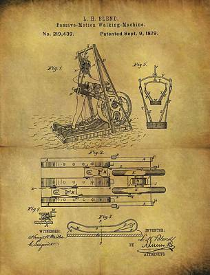 Nike Drawing - 1879 Treadmill Patent  by Dan Sproul