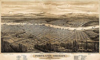 Old Map Photograph - 1879 Vintage Portland Oregon Map by Stephen Stookey