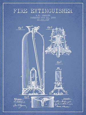 1880 Fire Extinguisher Patent - Light Blue Print by Aged Pixel