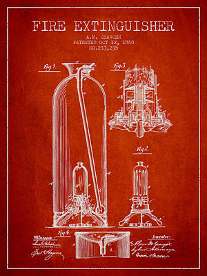 1880 Fire Extinguisher Patent - Red Art Print by Aged Pixel